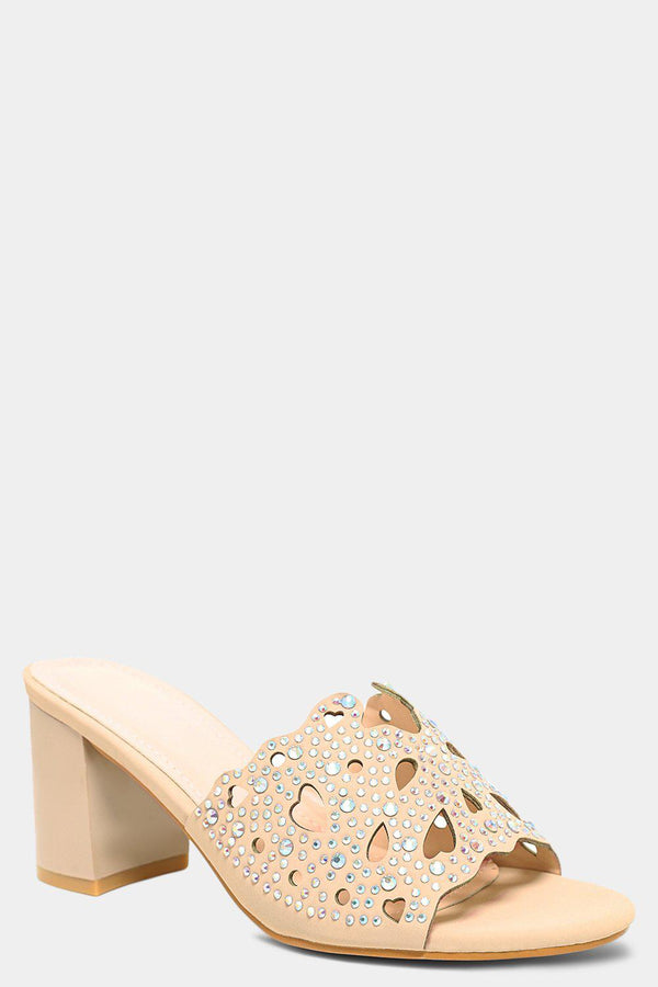 Apricot Hearts Laser Cut Crystals Embellished Block Heel Mules - SinglePrice