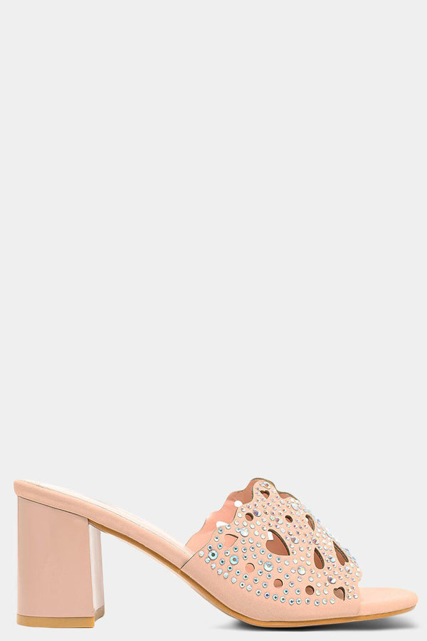 Pink Hearts Laser Cut Crystals Embellished Block Heel Mules - SinglePrice