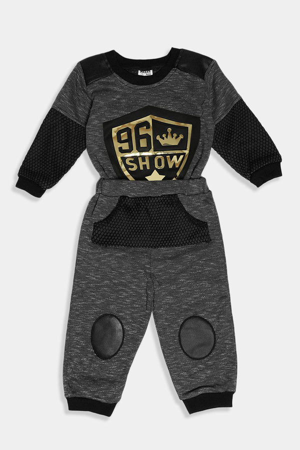 Black Gold Badge Baby Boy Tracksuit - SinglePrice