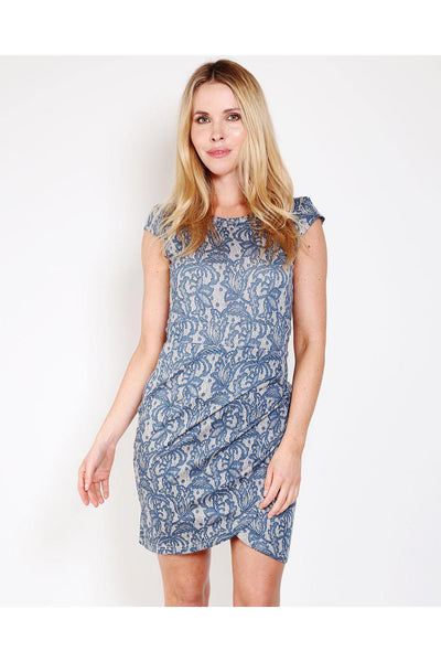 Blue Paisley Print Ruched Dress-SinglePrice