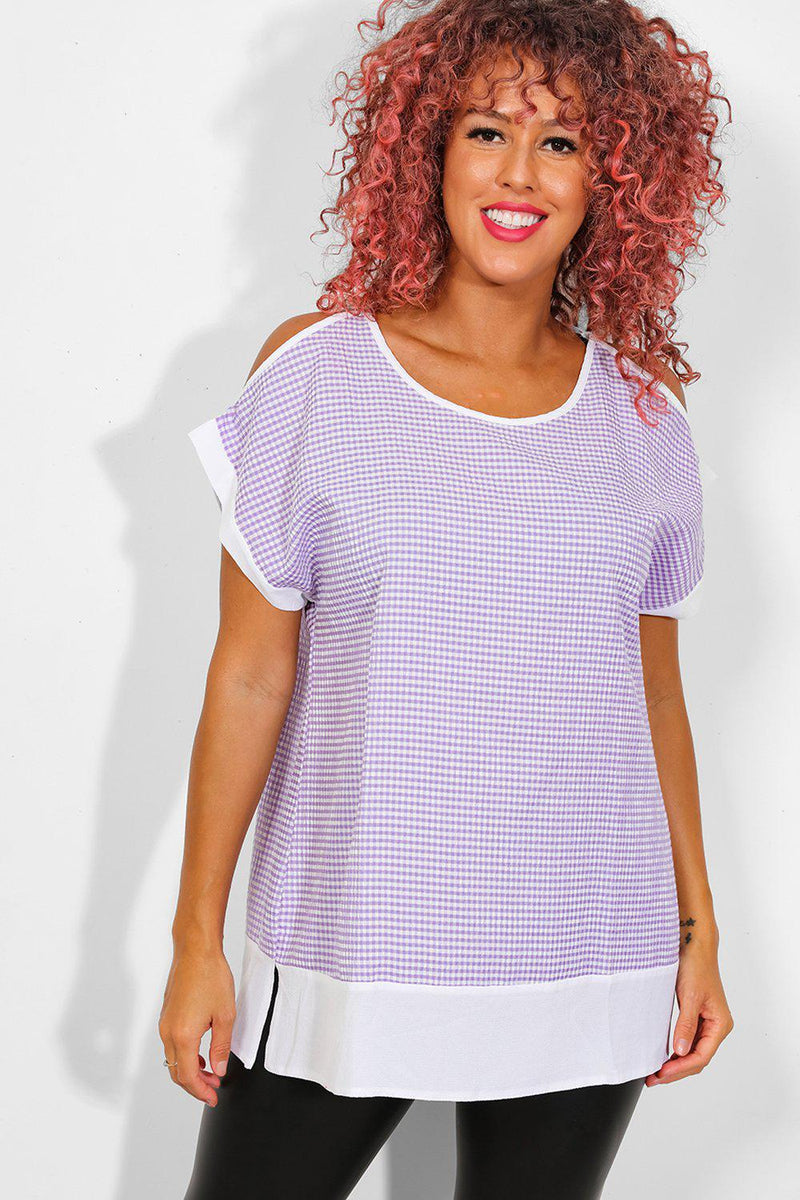 Purple Waffle Cold Shoulder Top - SinglePrice