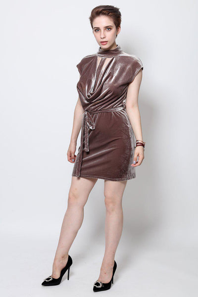 T-Bar Grey Velvet Dress-SinglePrice