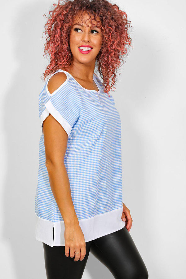 Blue Waffle Cold Shoulder Top - SinglePrice