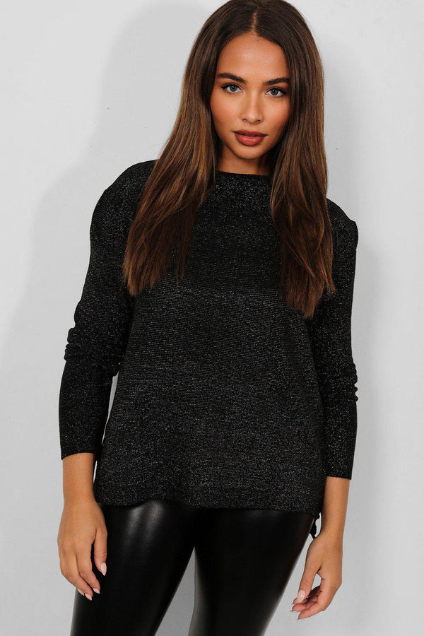 Black Shimmer Knit Lazy Fit Pullover - SinglePrice