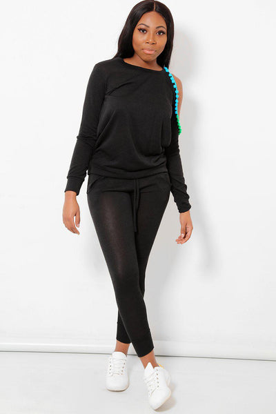 Colourful Pom-Poms Cold Shoulder Black 2 Piece Tracksuit-SinglePrice