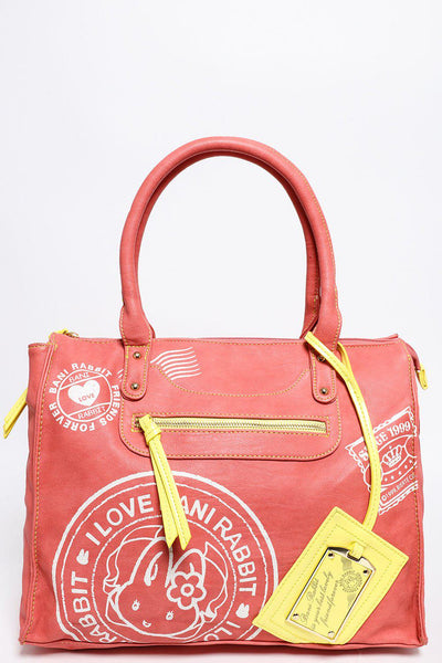 Postage Stamps Print Large Coral Tote-SinglePrice