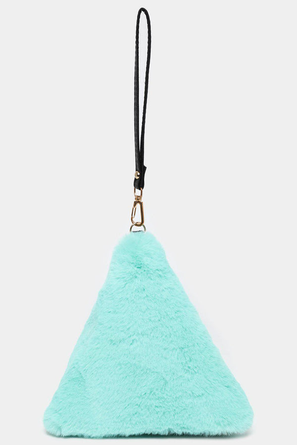 Mint Fluffy Faux Fur Triangle Coin Purse-SinglePrice