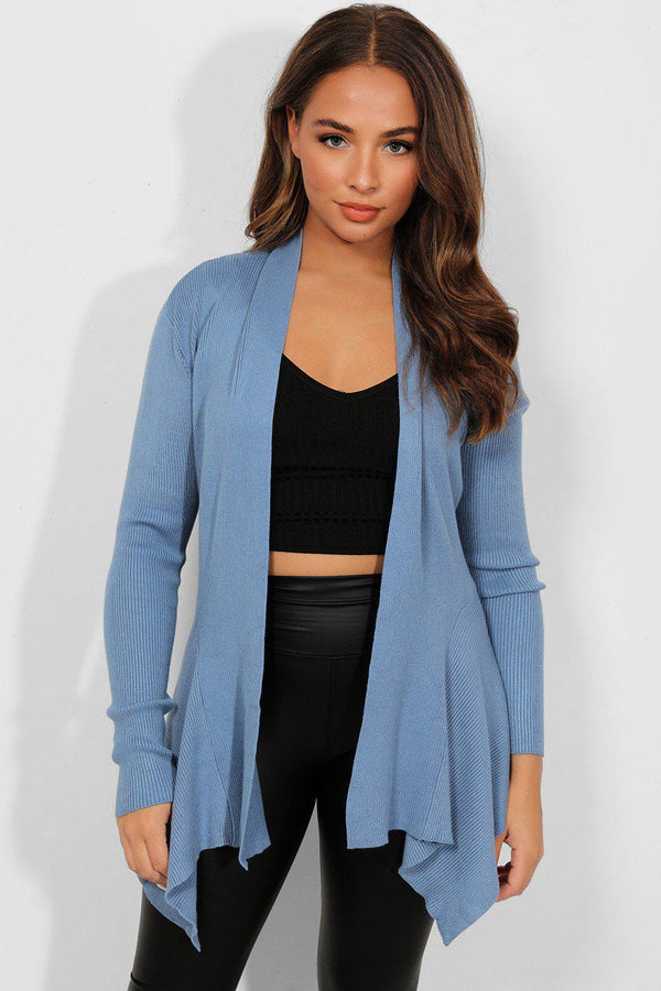 Blue Ribbed Knit Open Waterfall Cardigan