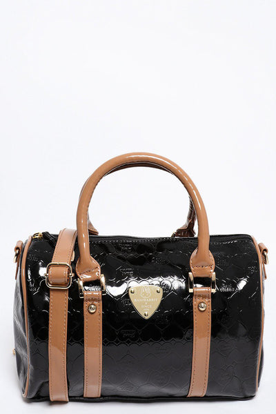 Small Black Patent Bowler Bag-SinglePrice