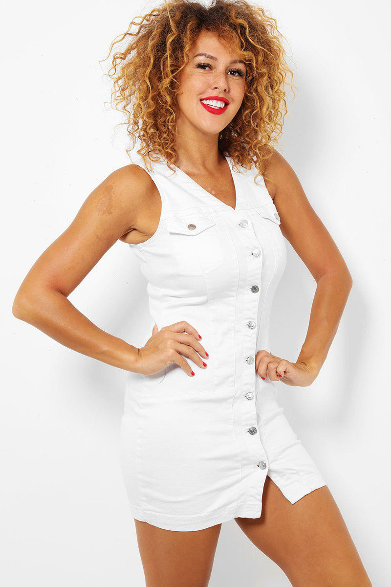 White Button Front V Neck Sleeveless Denim Dress - SinglePrice