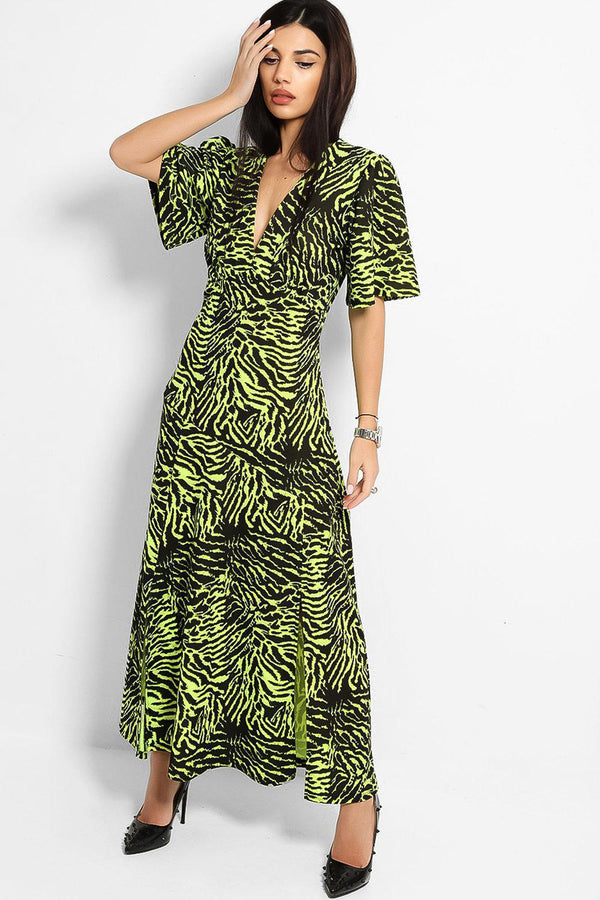 Neon Green Zebra Print Splits To Front Maxi Dress - SinglePrice
