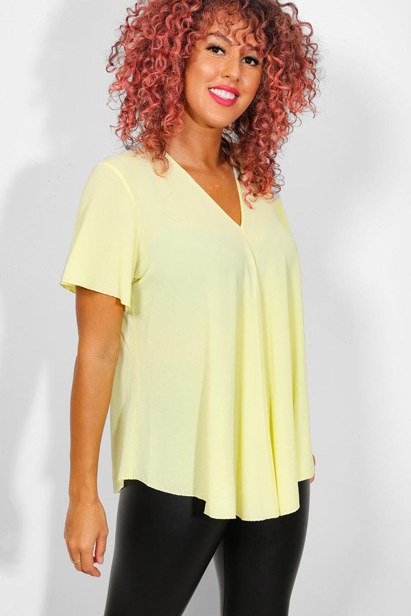 Yellow Back Zip Dip Hem Top - SinglePrice
