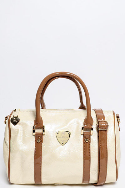 Small Cream Patent Bowler Bag-SinglePrice