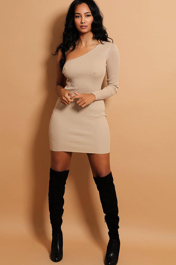Dark Beige One Shoulder Rib Knit Dress