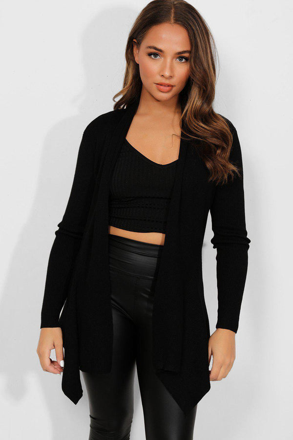 Black Ribbed Knit Open Waterfall Cardigan