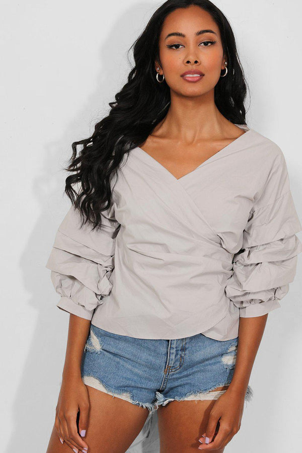 Grey Extreme Puff Sleeves Wrap-Over Top