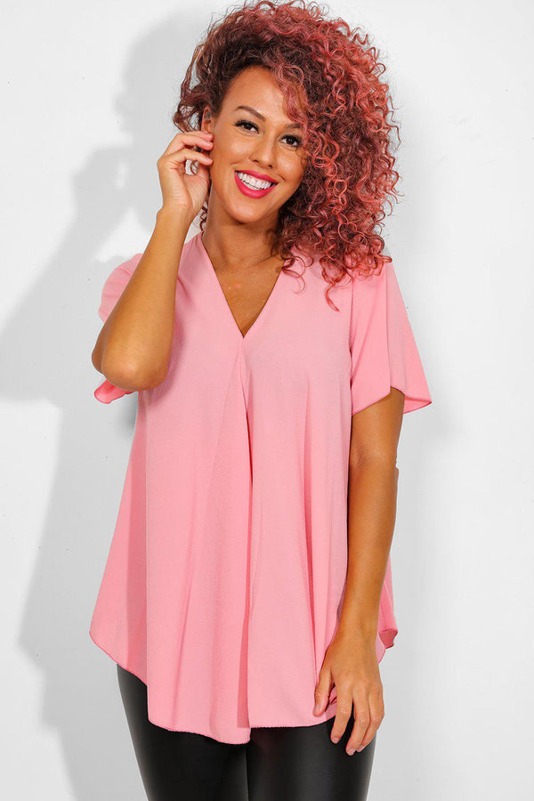 Pink Back Zip Dip Hem Top