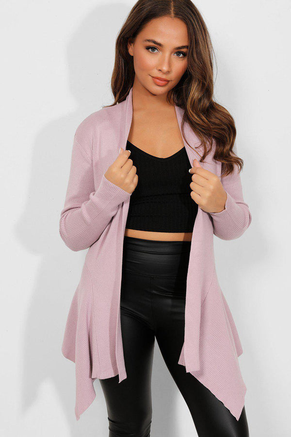 Lilac Ribbed Knit Open Waterfall Cardigan