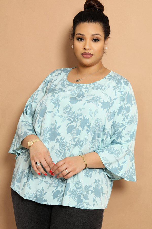 Light Blue Floral Print Flared Sleeve Top - SinglePrice