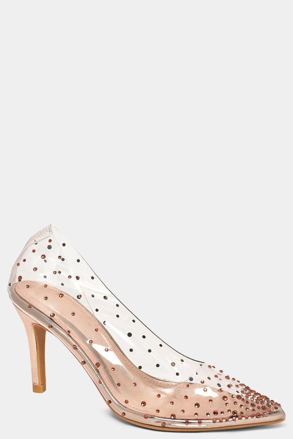 Champagne Crystals Embellished Perspex Stiletto High Heels