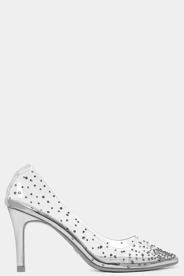 Silver Crystals Embellished Perspex Stiletto High Heels