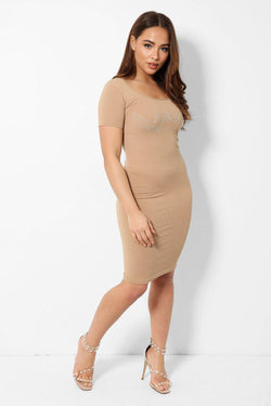 Crystal Angel Slogan Beige Ribbed Dress - SinglePrice