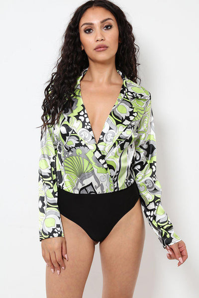Patterned Green Satin Bodysuit-SinglePrice