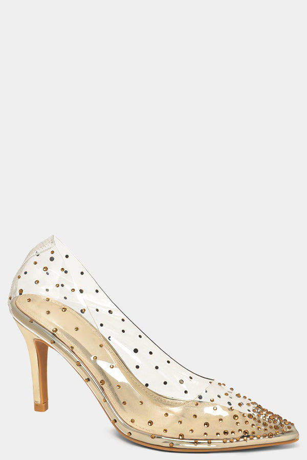Gold Crystals Embellished Perspex Stiletto High Heels - SinglePrice