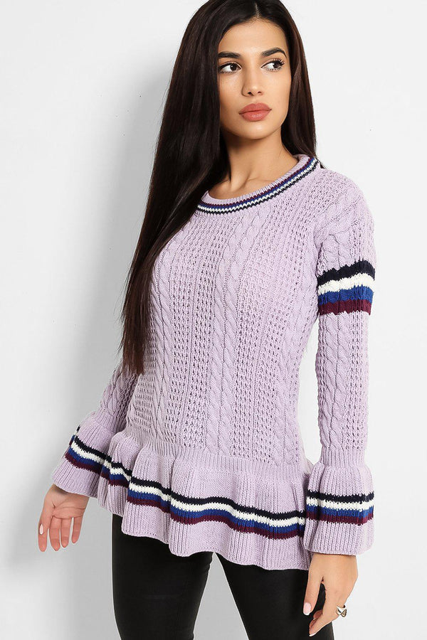 Lilac Tape Stripe Detail Lurex Cable Knit Pullover - SinglePrice