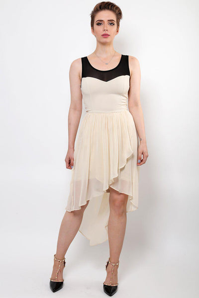Contrast Detail Hi Low Cream Chiffon Dress-SinglePrice