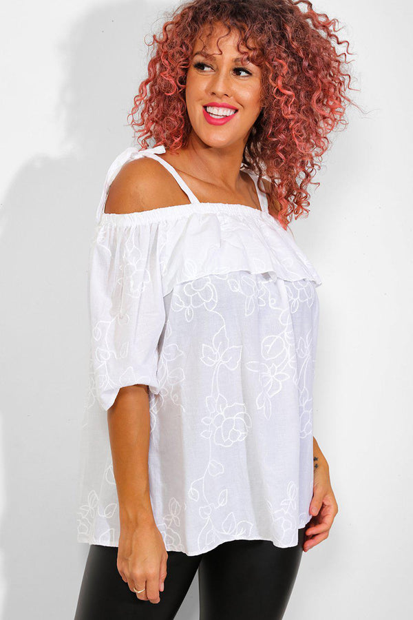 White Floral Embroidery Cold Shoulder 100% Cotton Top - SinglePrice