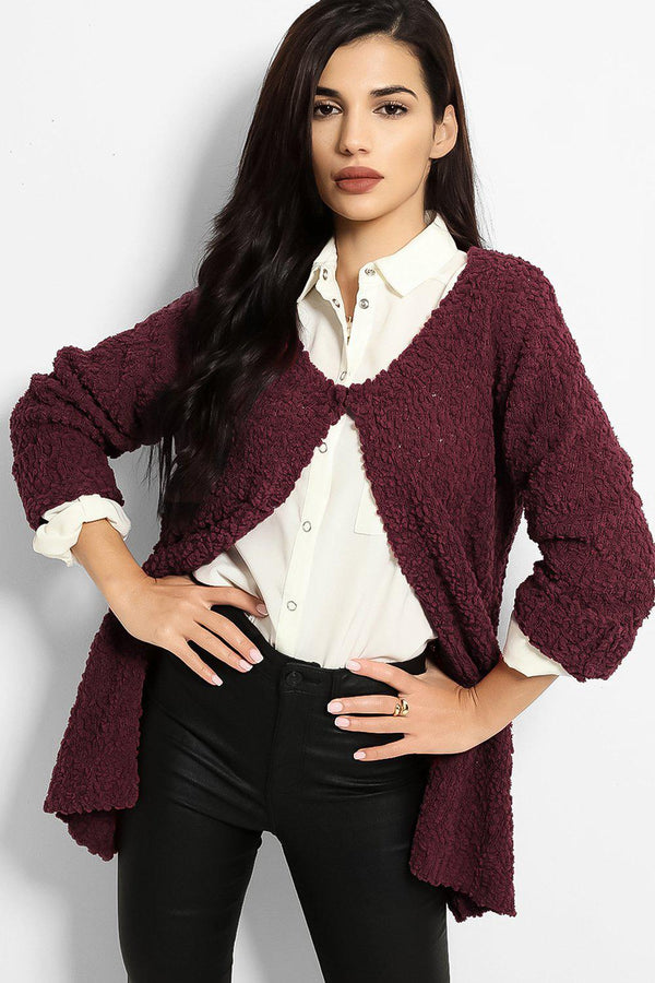 Purple Boucle Knit One Button Cardigan - SinglePrice