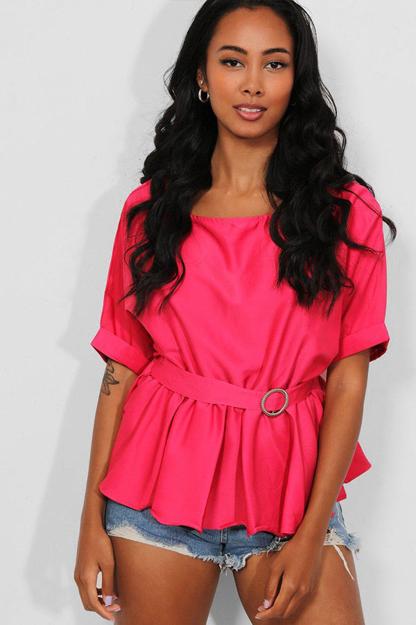 Hot Pink Buckle Belt Waist detail Peplum Top