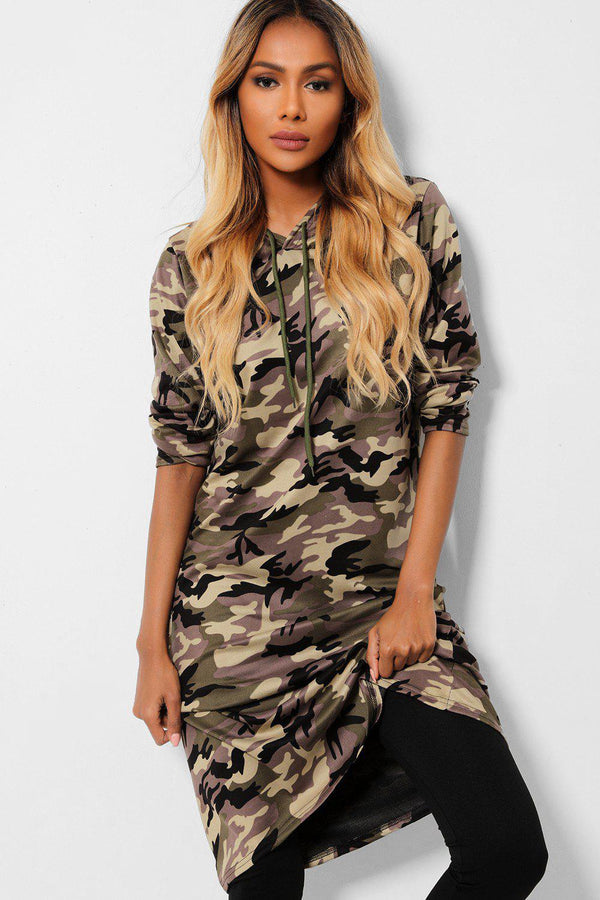 Beige Camouflage Tunic And Black Leggings 2 Piece Set - SinglePrice