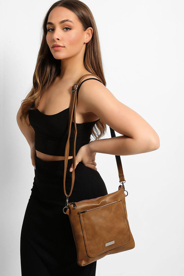 Dark Taupe Zipped Front Pocket Shoulder Bag - SinglePrice