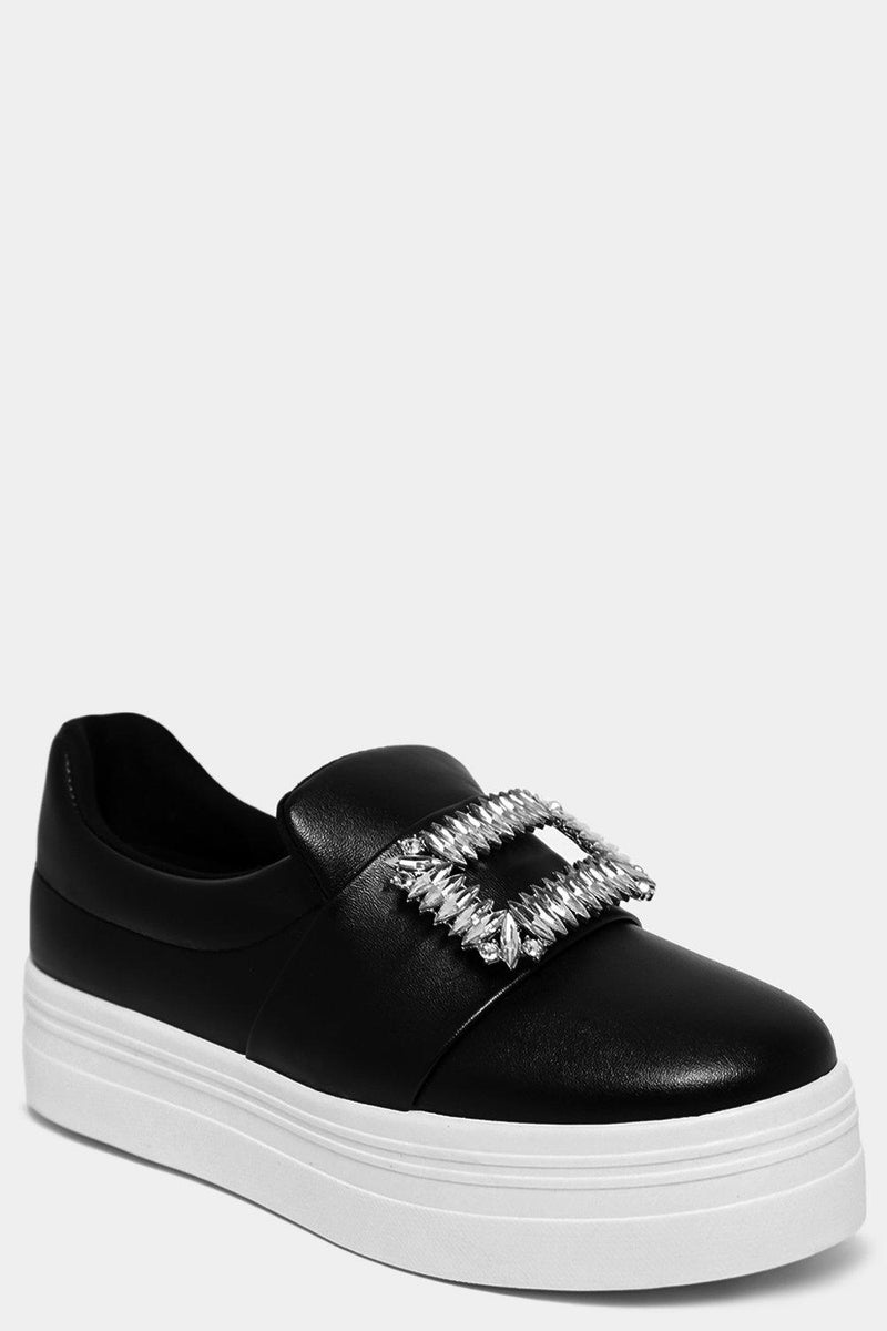 Black Jewelled Buckle Front Chunky Plimsolls - SinglePrice