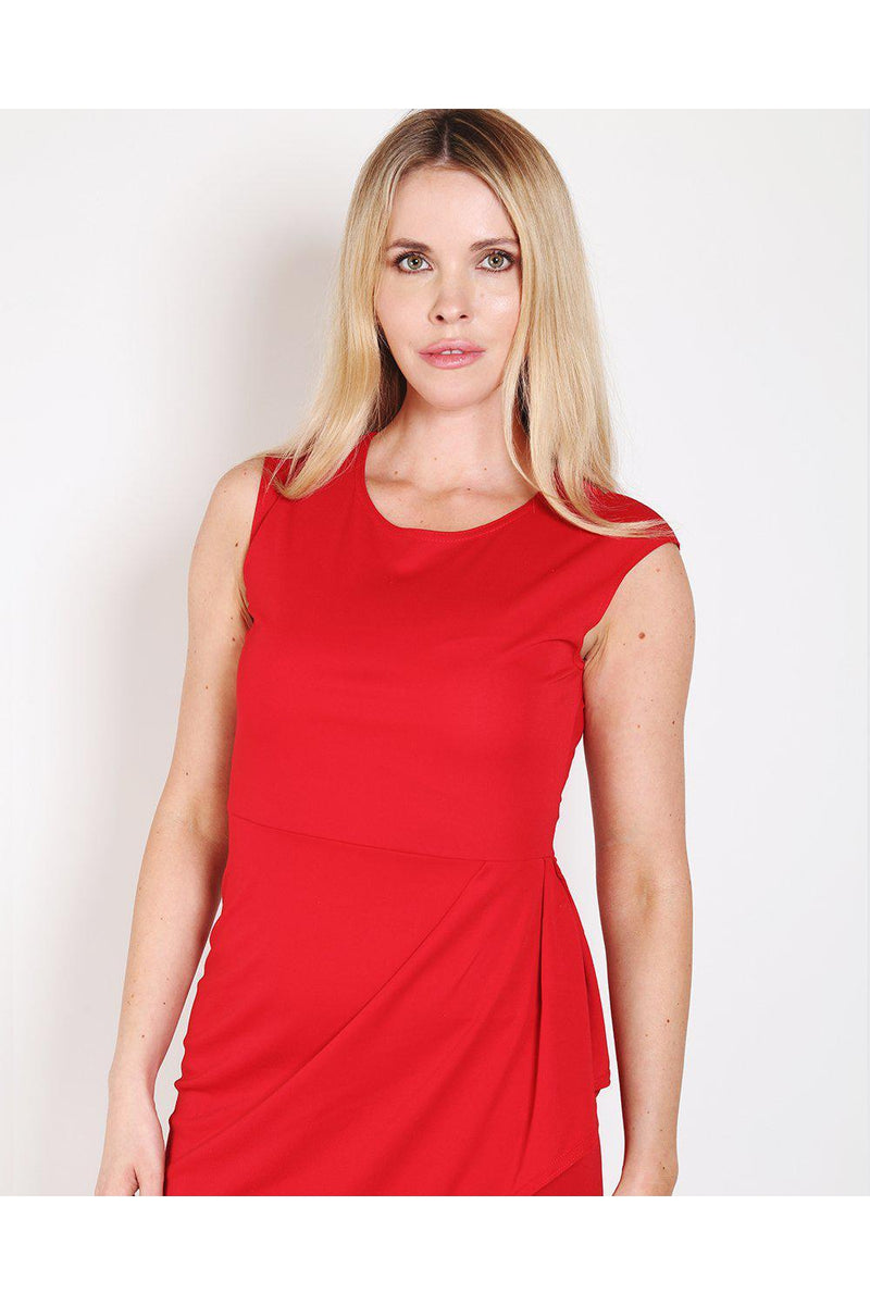 Red Draped Side Bodycon Dress - SinglePrice