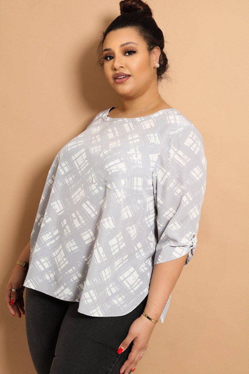 Grey Graphic Print Rolled Sleeves Blouse - SinglePrice