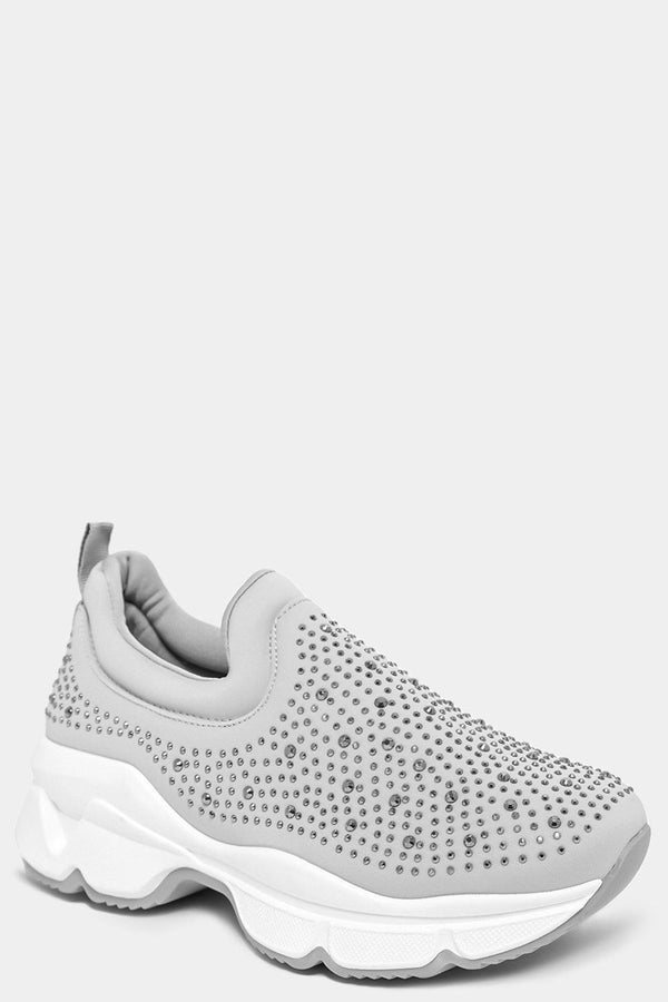 Grey Crystals Embellished Slip On Trainers