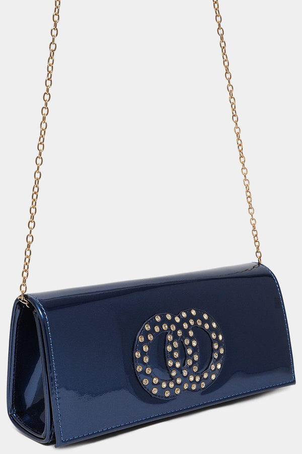 Embellished Double Circle Blue Clutch Bag-SinglePrice