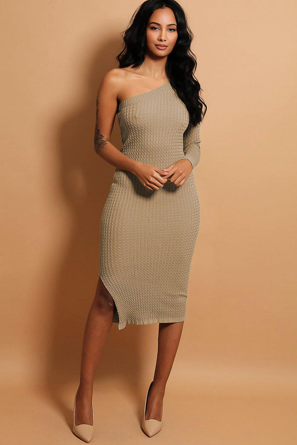 Beige Textured Knit One Shoulder Midi Dress - SinglePrice