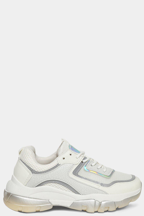 Grey Panels White Mesh Net Chunky Trainers