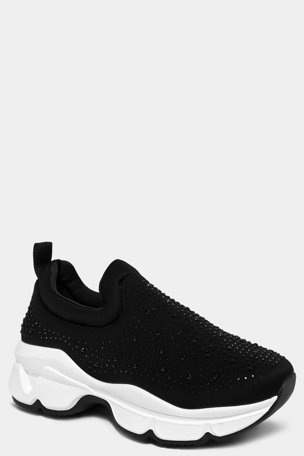 Black Crystals Embellished Slip On Trainers