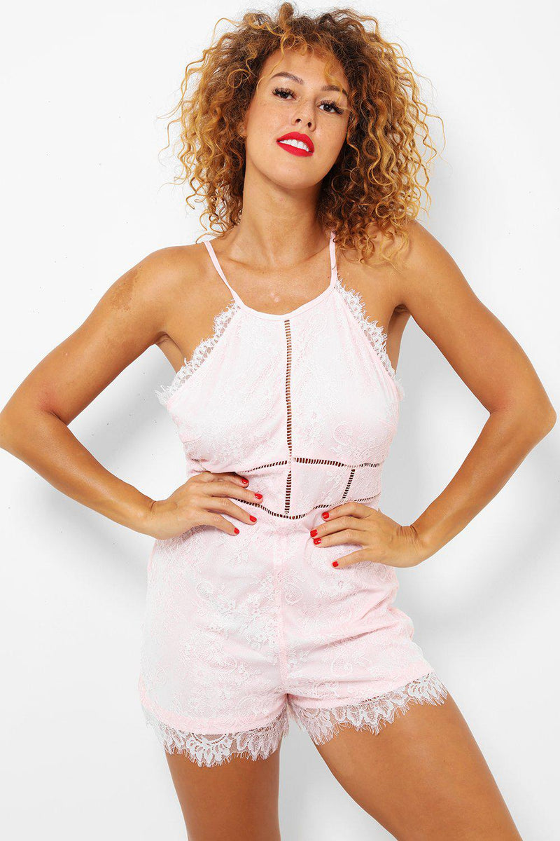 Pink Delicate Scallop Lace Cami Playsuit - SinglePrice