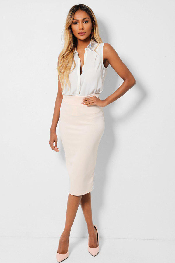 Cream Back Split Midi Pencil Skirt - SinglePrice