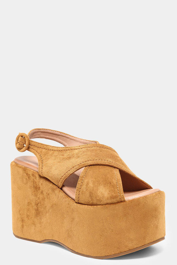 Camel Crossover Straps Extreme Chunky Platform Sandals - SinglePrice