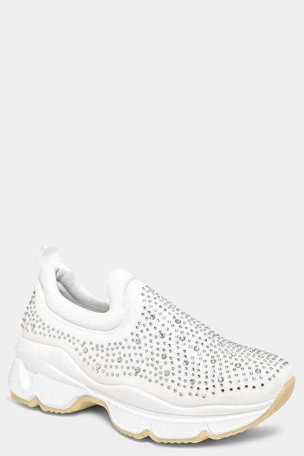 White Crystals Embellished Slip On Trainers