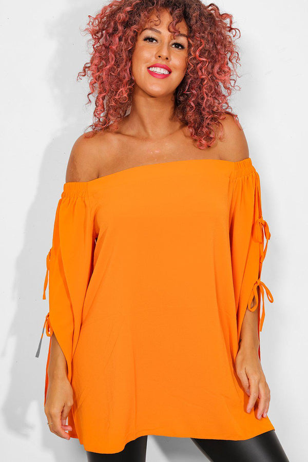 Orange Lace Up Sleeves Off The Shoulder Top - SinglePrice