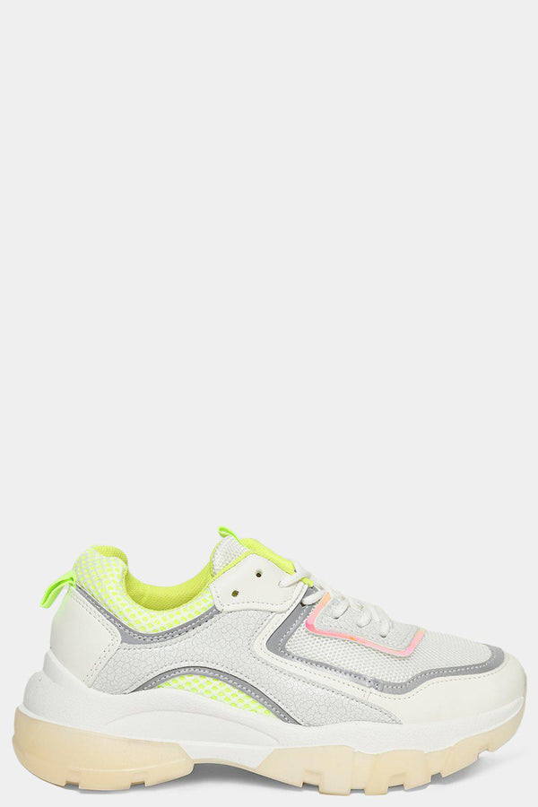 Green Panels White Mesh Net Chunky Trainers