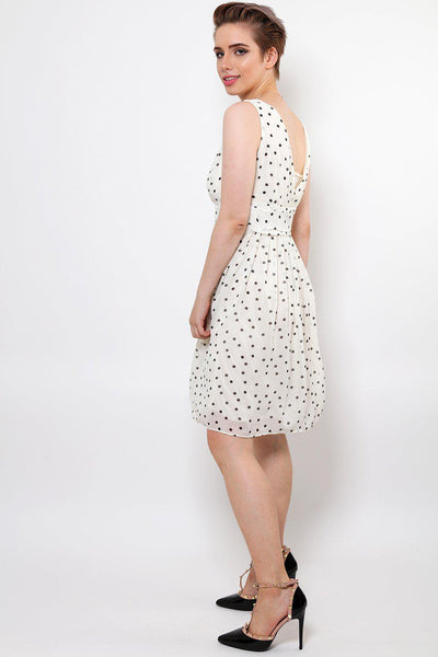 Polka Dot White V-Neck Dress-SinglePrice